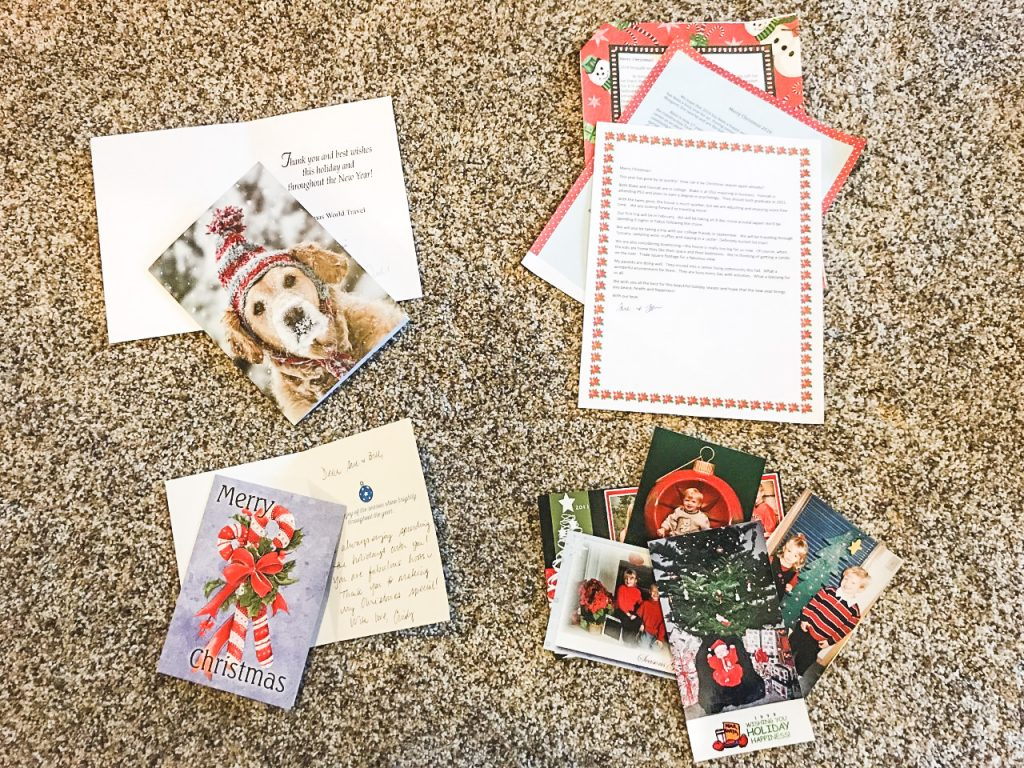 Holiday cards sorted by type