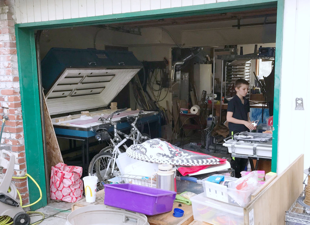 Messy garage before organizing makeover