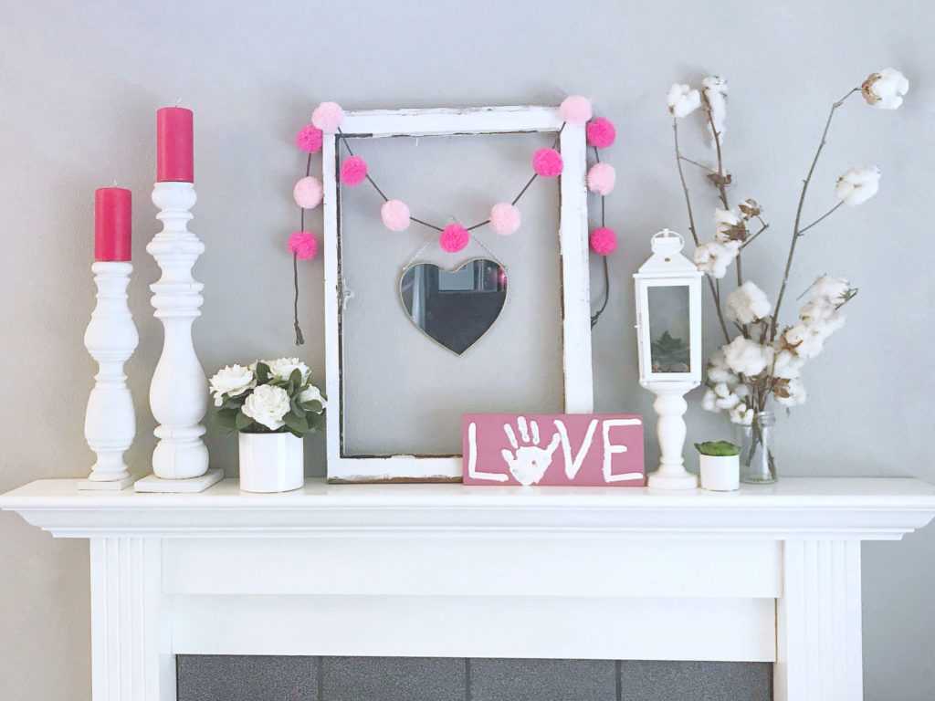 Mantle decorated in Valentine's Day decor