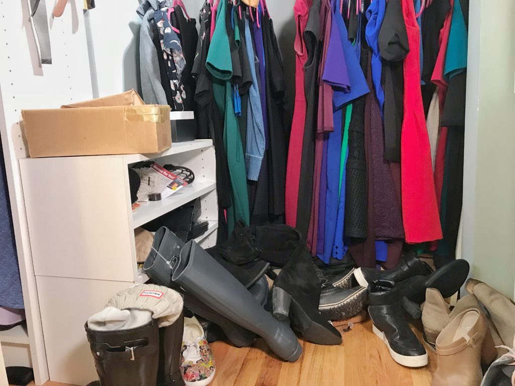 TV Host Master Closet Makeover - Shoe rack before