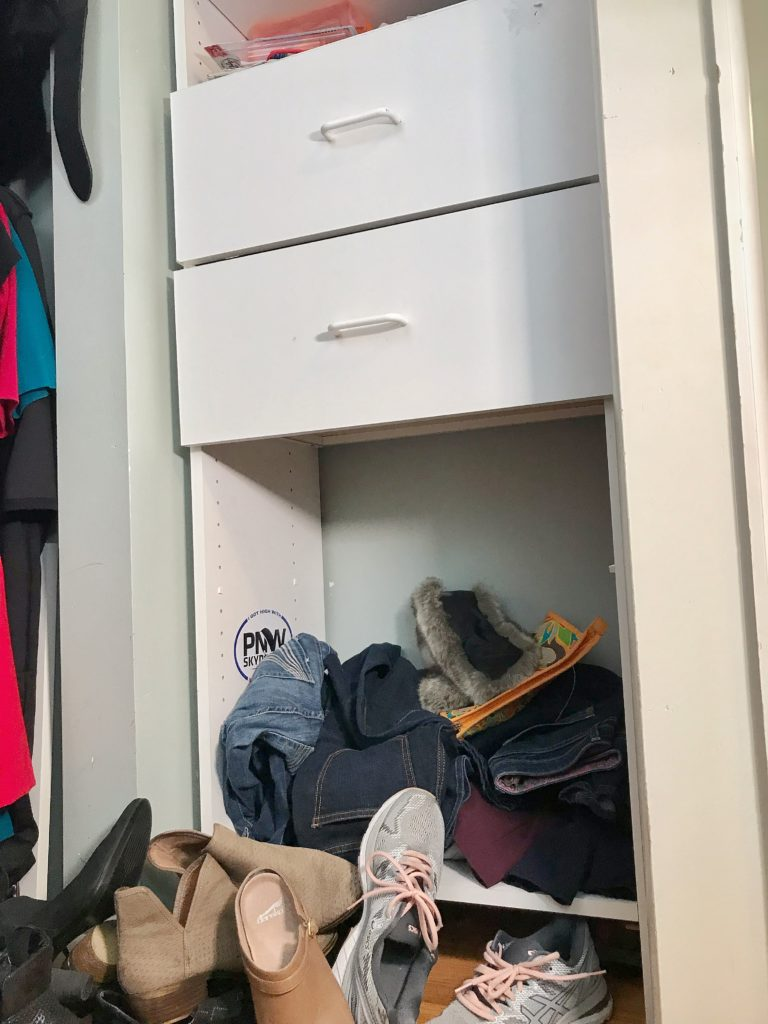 TV Host Master Closet Makeover - built in before