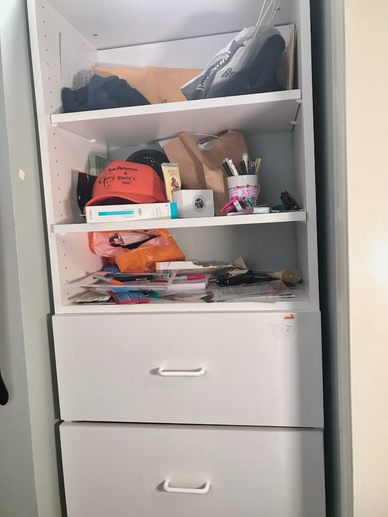 TV Host Master Closet Makeover - built in shelves before