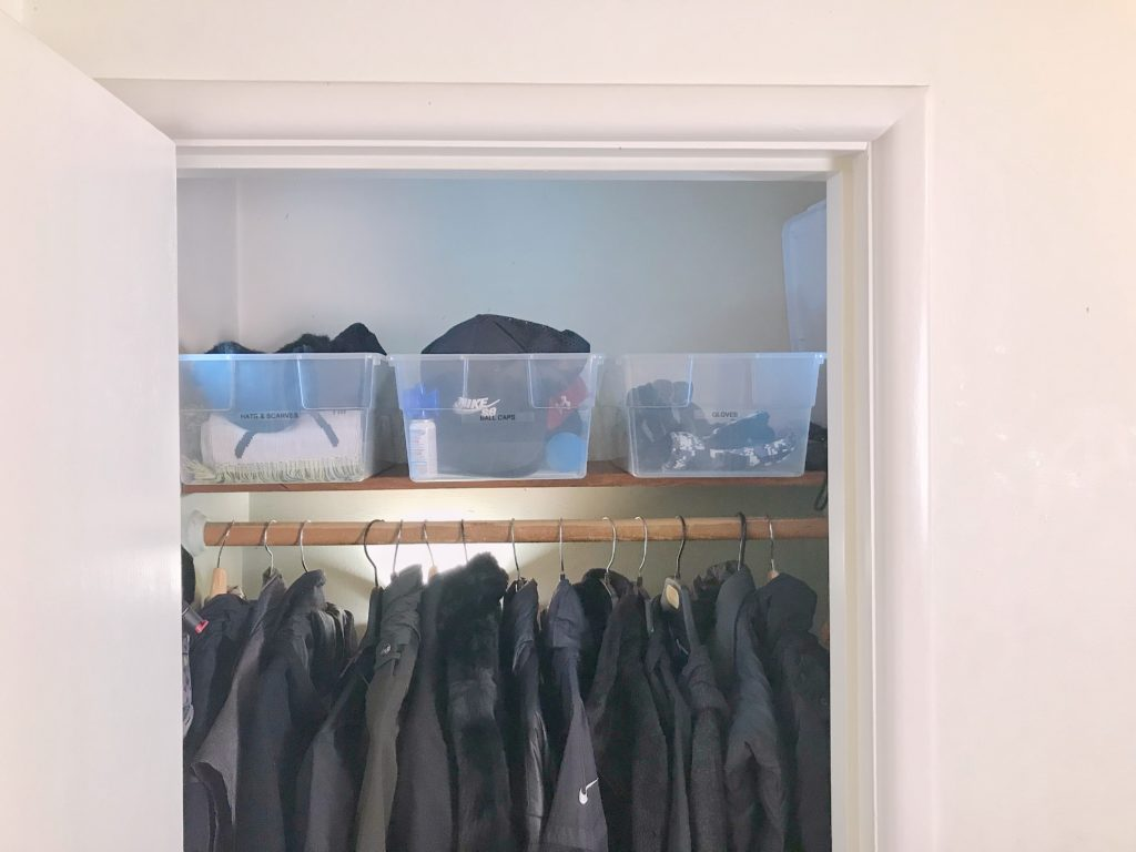 TV Host Master Closet Makeover - clothes closet bins