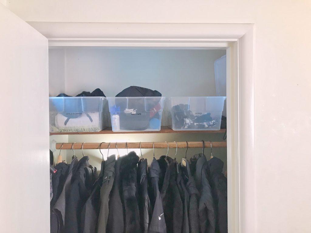 TV Host Master Closet Makeover - clothes closet bins