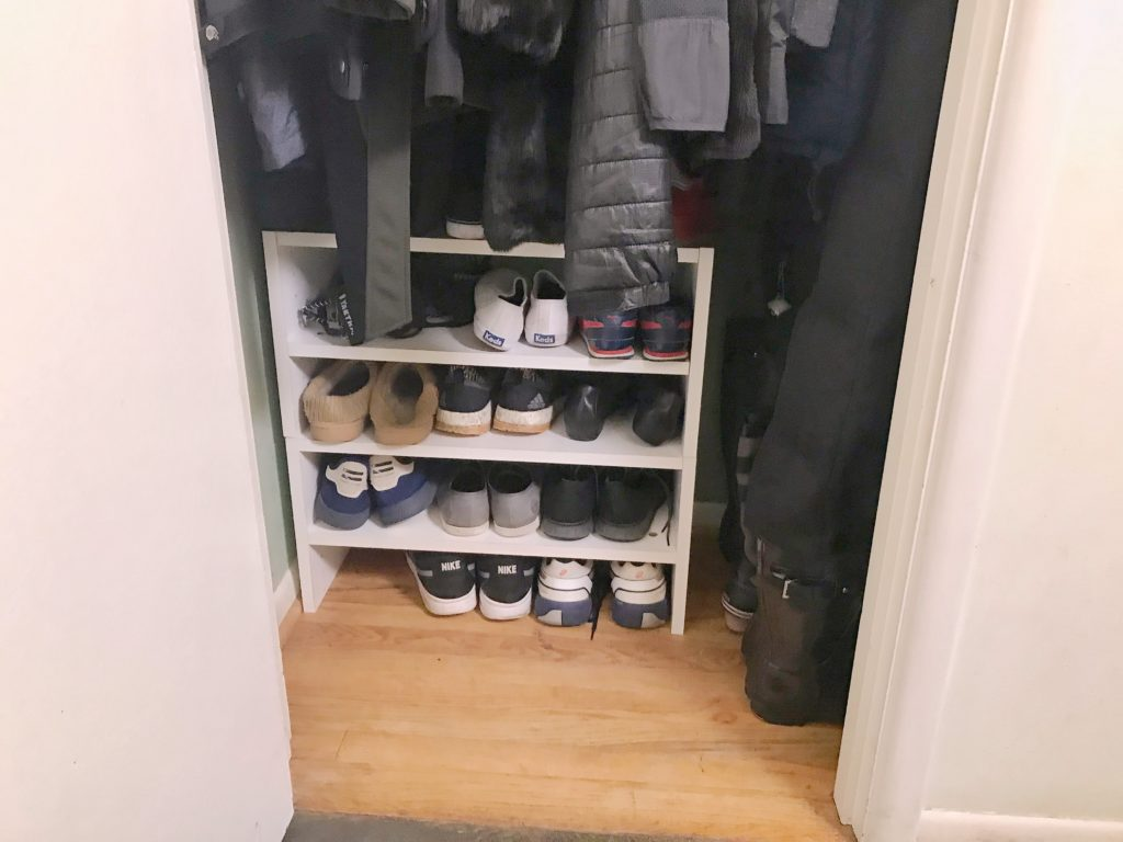TV Host Master Closet Makeover - shoe rack after