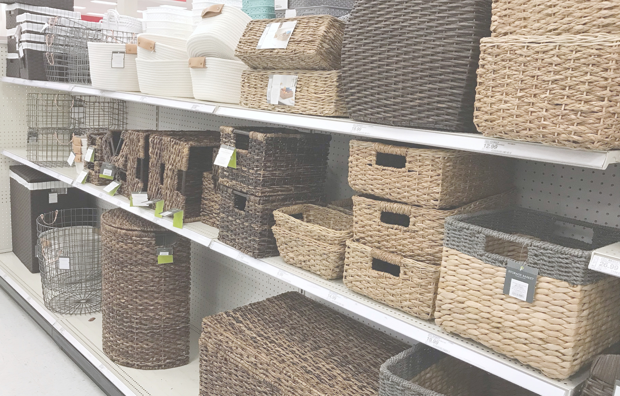 Variety of Organizing Products on Store Shelf