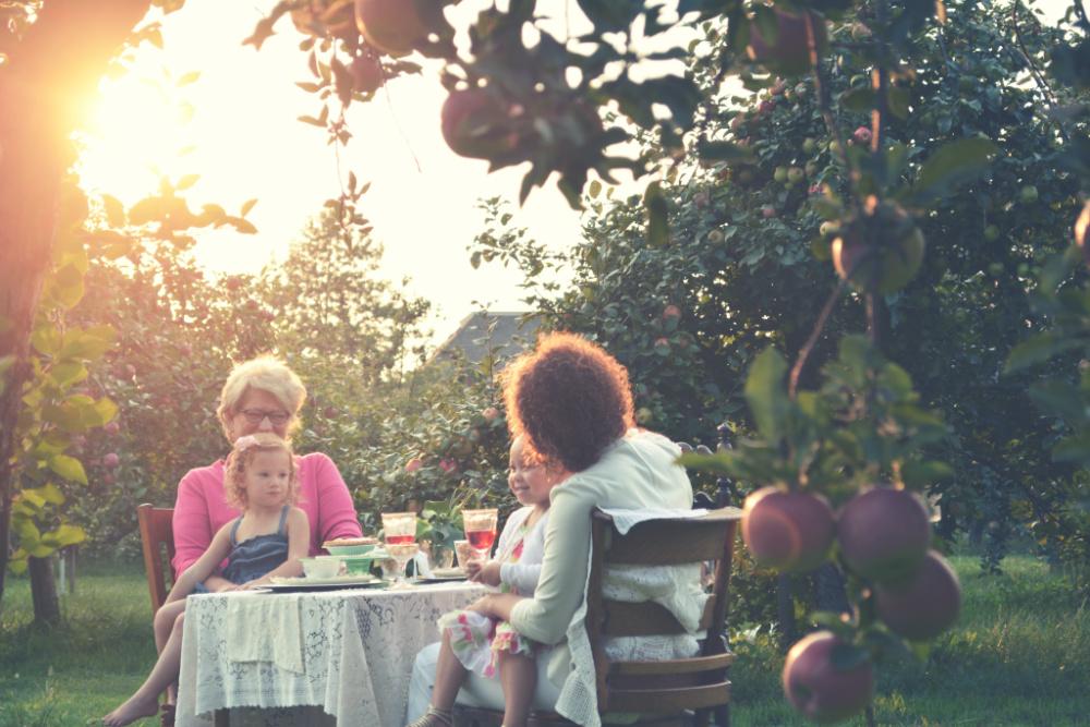Tea with grandma in garden