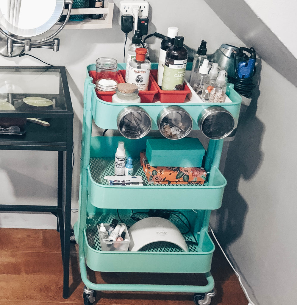 Ikea rolling rack for makeup supplies