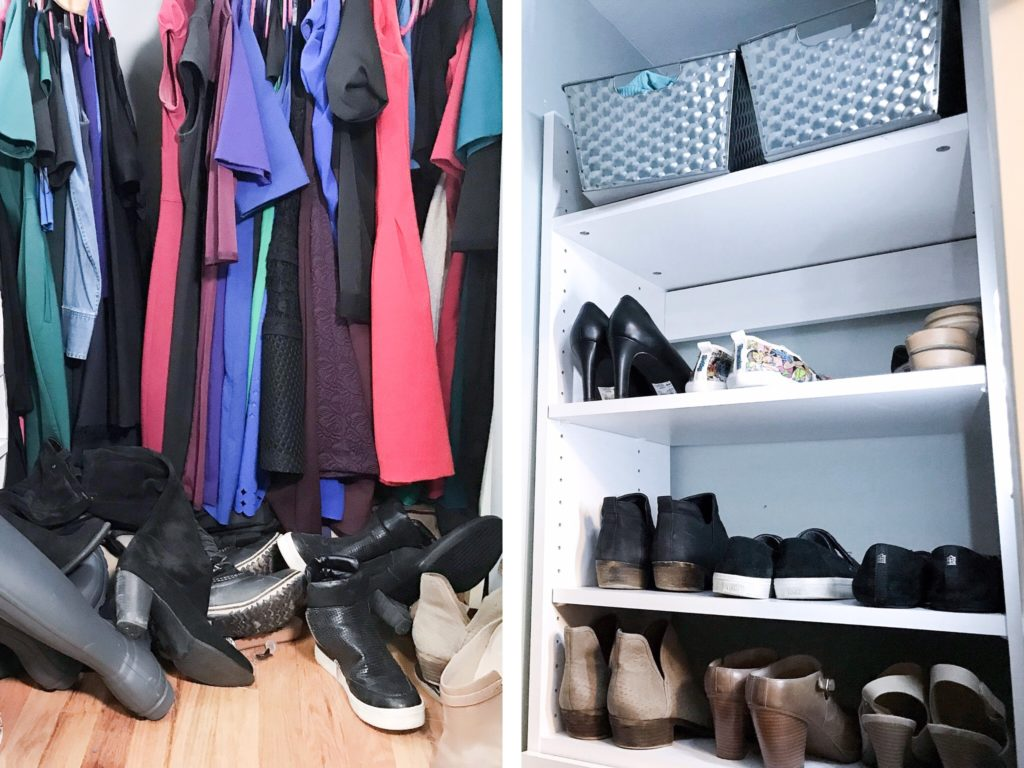 Before and After closet shoe bar