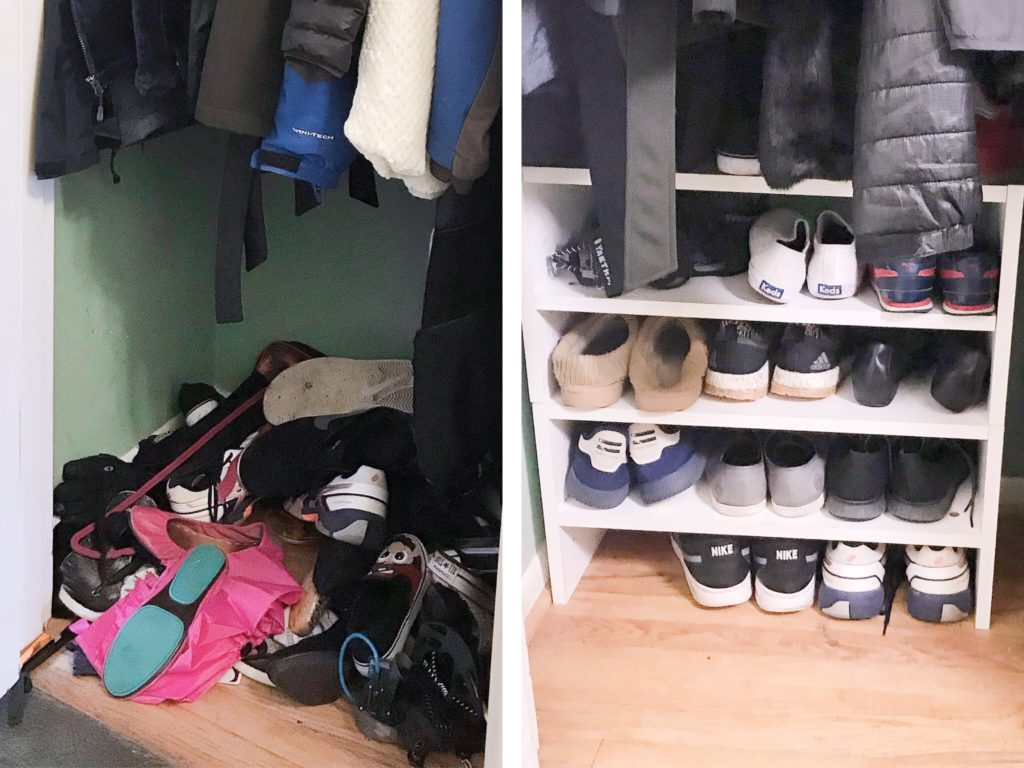 Coat closet shoe bar before and after