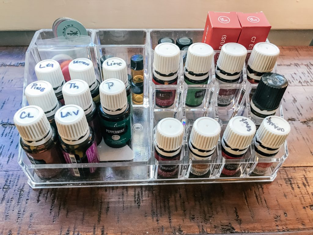 Essential Oils Organized in Lipstick Holder