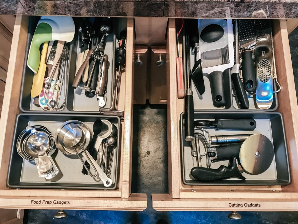 Organized and labeled drawer with gadgets