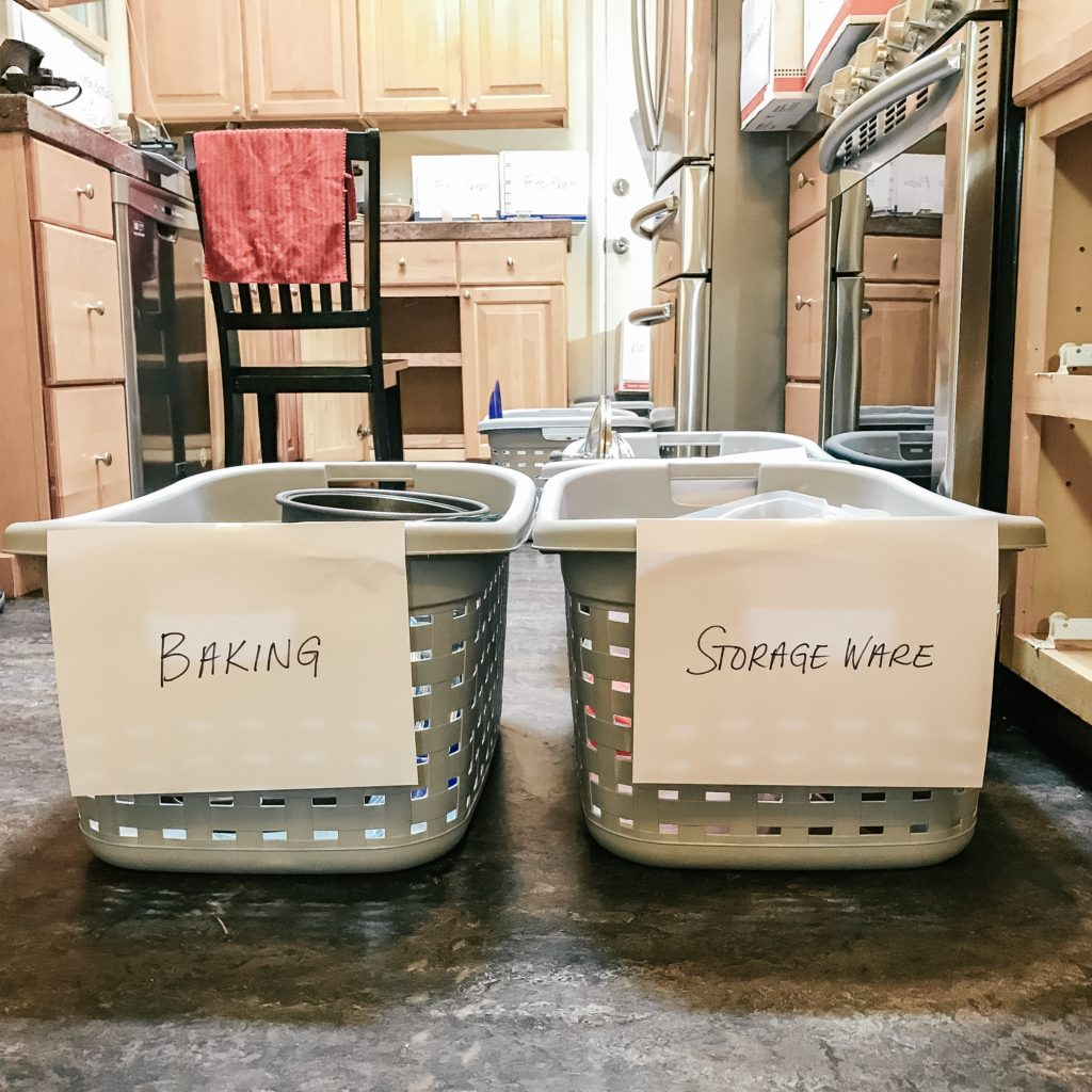 Laundry baskets used for sorting kitchen ware