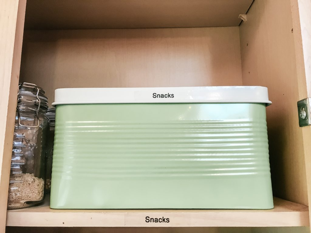 Snacks in green bin