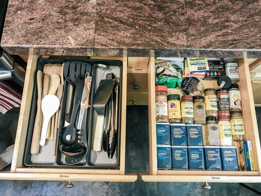 Organized utensil and spice drawers