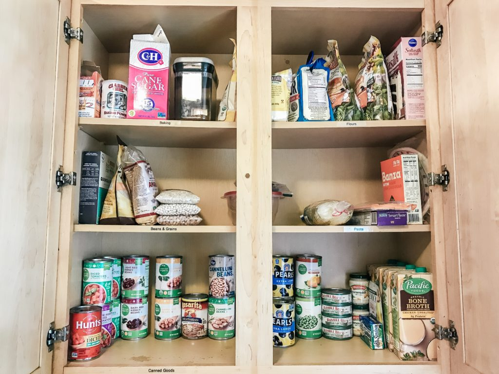 Organized cabinet with canned food