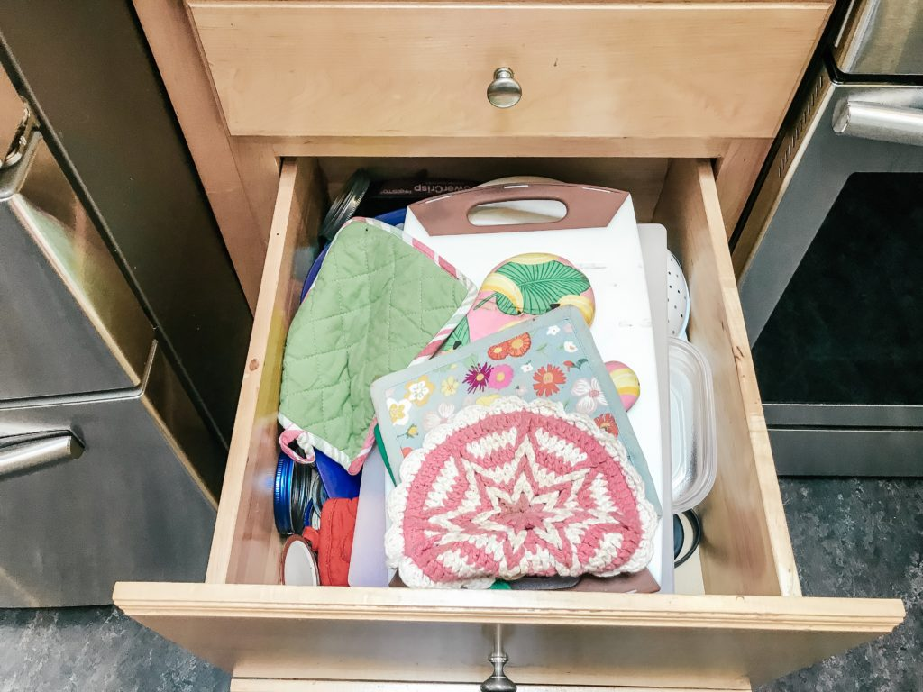 Potholders messy in drawer