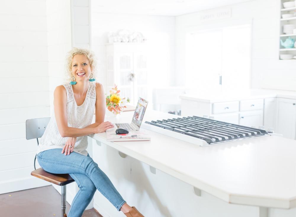Vicki Working at Kitchen Counter