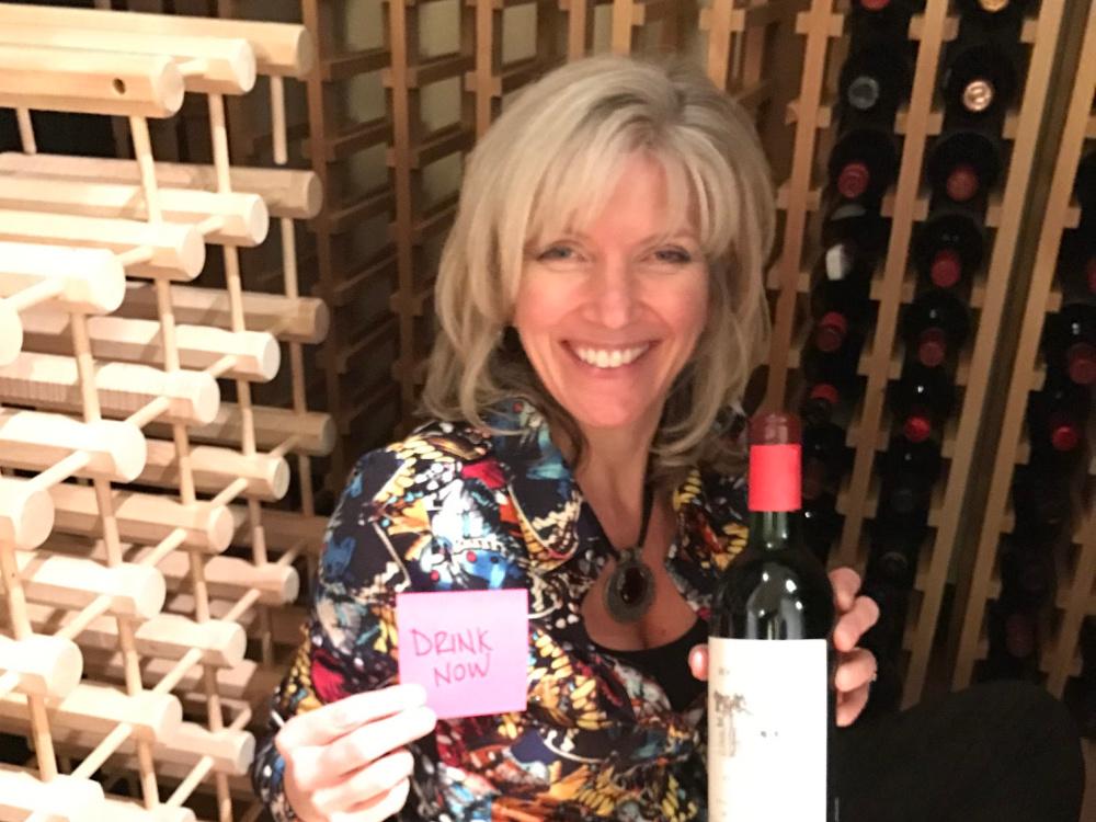 Professional organizer in wine cellar