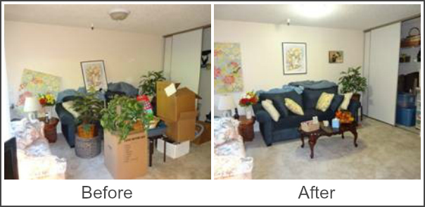 moving strategies for downsizing - living room