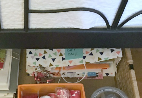 Creative Gift Wrapping Station Hacks - Gift Bags Under Bed