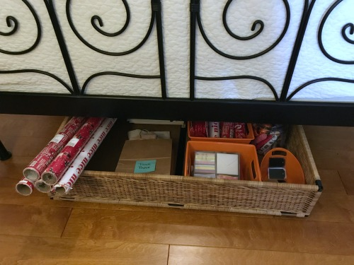 Creative Gift Wrapping Station Hacks - Under Bed Before