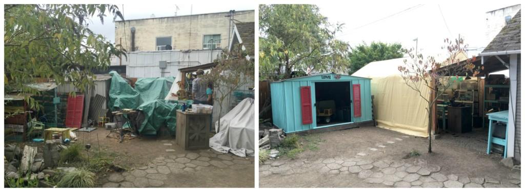 Yard Before and After Workshop Makeover