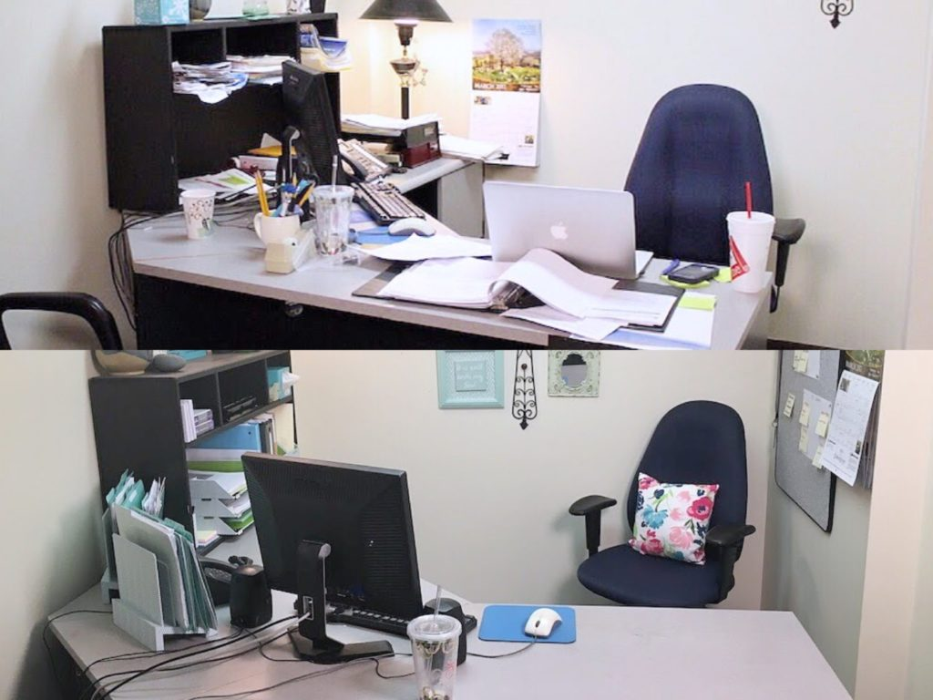 Desk Before and After Organizing Your Office