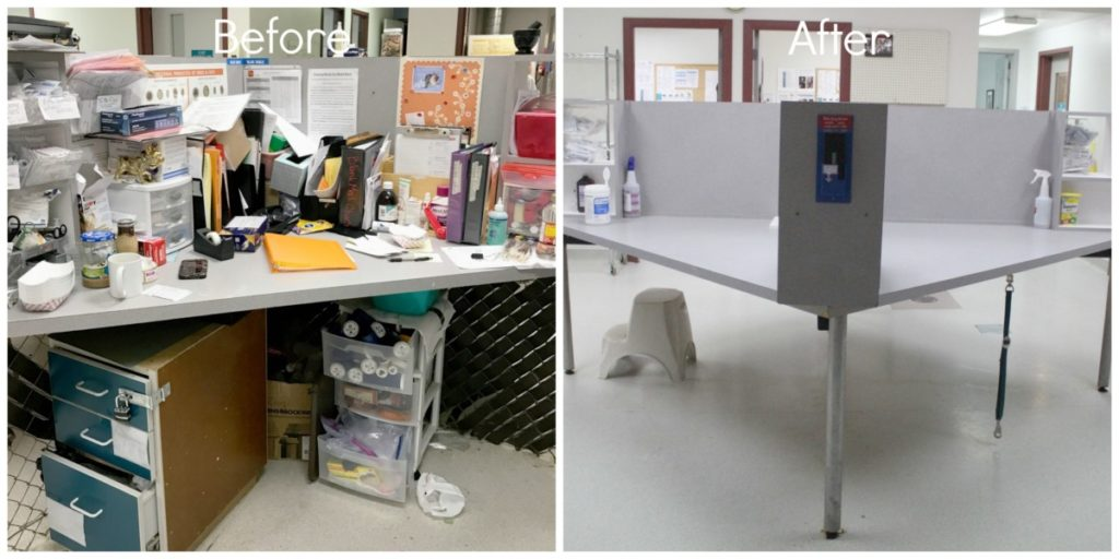 MGDO - WHS Workplace Organized Quadrant Desk Before and After