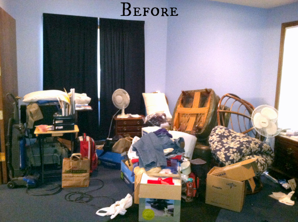 Cluttered Bedroom Before