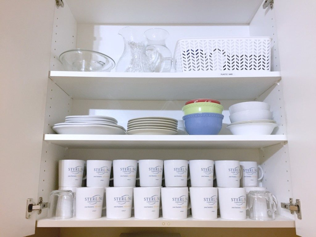Organized cabinet with dishes