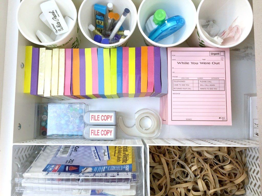 organized mailroom drawer